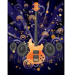 Grunge Guitar and Loudspeakers vector image vector image