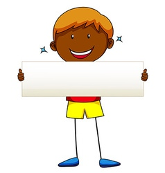 Happy boy holding white paper vector image vector image