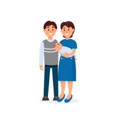 happy husband and wife embracing their newborn vector image