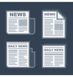 Newspaper Icons Set on Dark Background vector image vector image