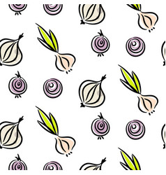 onion doodle different types seamless vector image vector image