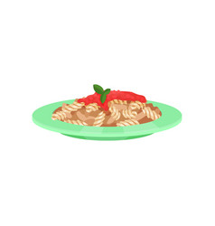 pasta dish cooked with sauce italian cuisine vector image