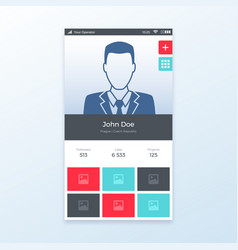 personal profile ui app design vector image vector image