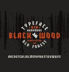 Sanserif font in black letter style decorated wood vector image vector image