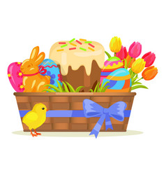 sweet cake chocolate bunny color eggs on easter vector image vector image