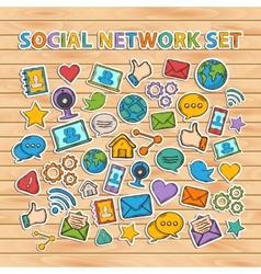 Doodle Social Network Set hand draw set vector image vector image