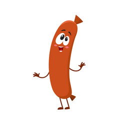 funny sausage character with human face showing vector image