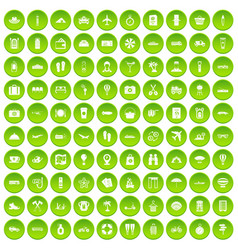 100 travel time icons set green vector