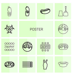 14 poster icons vector