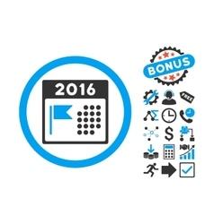 2016 Holiday Calendar Flat Icon with Bonus vector image