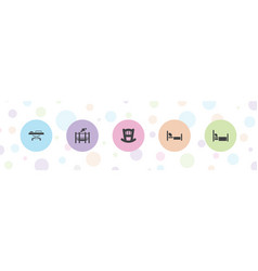 5 bed icons vector