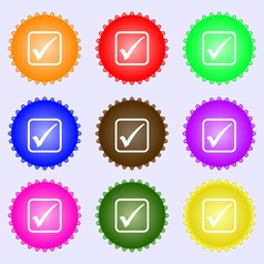 A check mark icon sign A set of nine different vector image