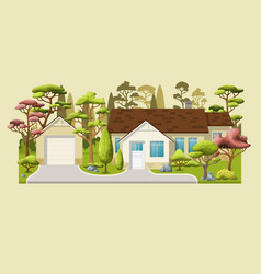 A classic family house with trees vector