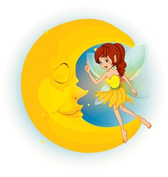 A fairy with a yellow dress beside a sleeping moon vector image