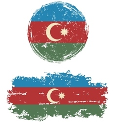 Azerbaijani round and square grunge flags vector image