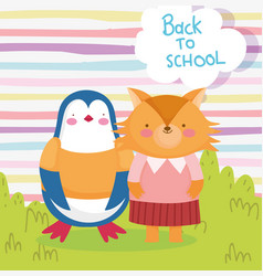 back to school education cute penguin and fox vector image