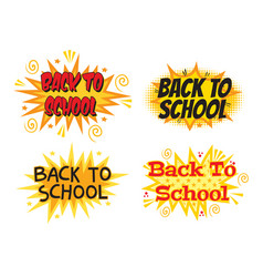 Back to school explosion with comic style set vector