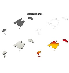 Balearic Islands blank outline map set vector image