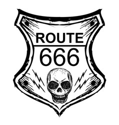 Black route 666 sign on a white background vector