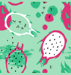 brush grunge dragon fruit seamless pattern vector image