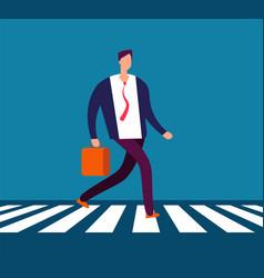 Businessman walking crosswalk man in suit going vector