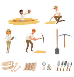 Cartoon flat icons set with tools vector