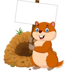 Cartoon groundhog holding blank sign vector