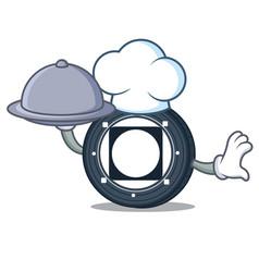 Chef with food byteball bytes coin mascot cartoon vector