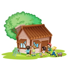Children painting the house vector image