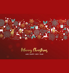 christmas and new year gold deer ornament card vector image