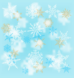 christmas white and gold snowflakes on blur blue vector image