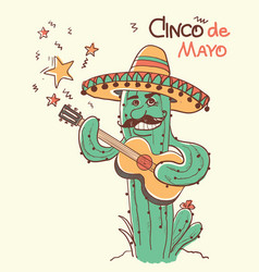 cinco de mayo cactus playing the guitar color vector image