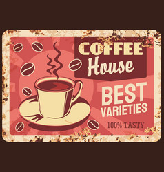 coffeehouse cafeteria rusty metal plate vector image