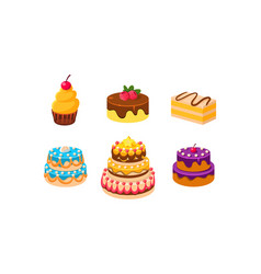 collection cakes set confection desserts vector image
