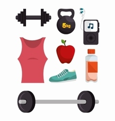 Collection equipment work gym fitness vector