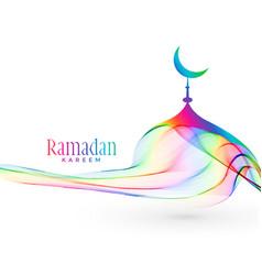 Colorful creative mosque design for ramadan vector