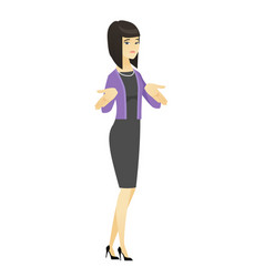 Confused business woman shrugging shoulders vector