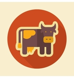 Cow retro flat icon with long shadow vector