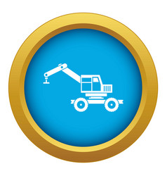 Crane truck icon blue isolated vector