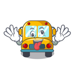 Crazy school bus mascot cartoon vector