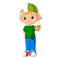 Cute boy cartoon licking ice cream vector