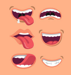 Cute man and woman mouth set vector