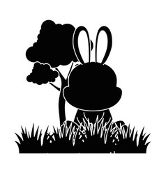 cute rabbit in landscape character icon vector image