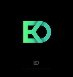 d and k monogramcrossed letters vector image
