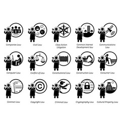 different type laws icons depict field vector image
