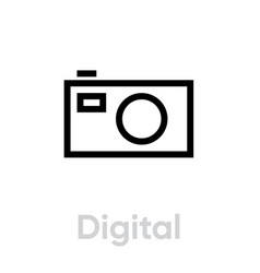 digital camera icon editable outline vector image