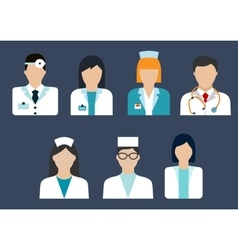 Doctors and nurses avatar flat icons vector