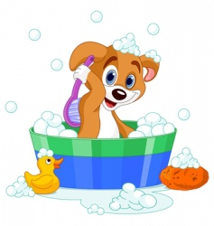 Dog having bath vector