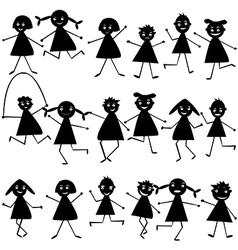 doodle children set vector image