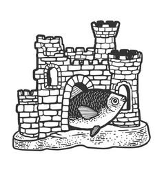 fish in aquarium castle sketch vector image